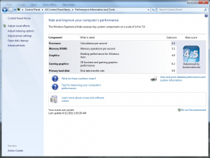 Windows Experience Index for test machine. Overall Score 4.5